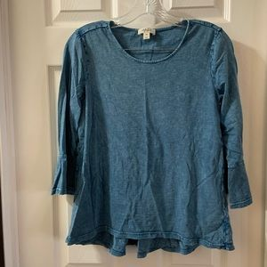 Style & Co Blue Scoop Neck 3/4 Bell Sleeve top PM